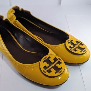 Tory Burch Reva Patent Leather Flats - 7.5 Yellow